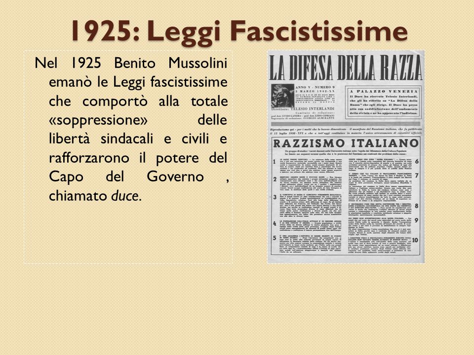 1925: Leggi Fascistissime