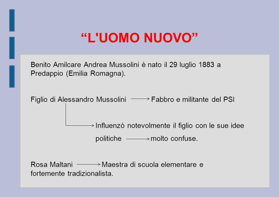 L UOMO NUOVO Benito Amilcare Andrea Mussolini è nato il 29 luglio 1883 a Predappio (Emilia Romagna).