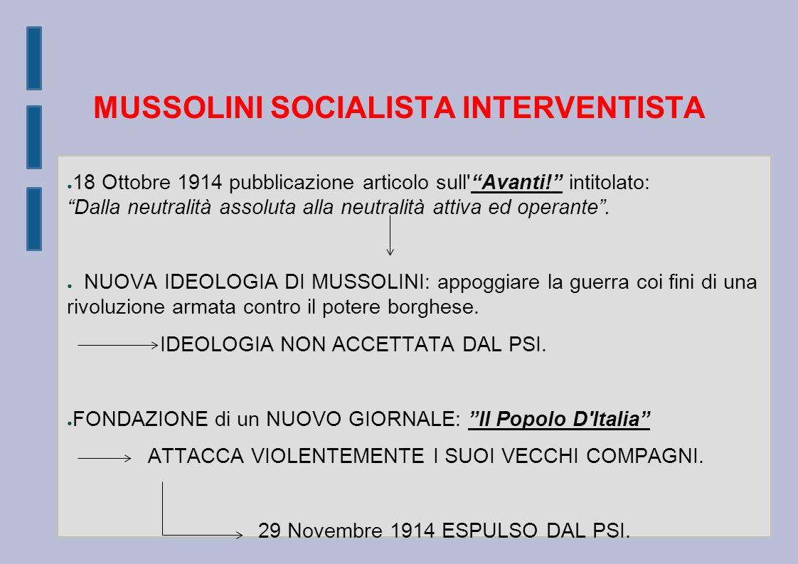 MUSSOLINI SOCIALISTA INTERVENTISTA