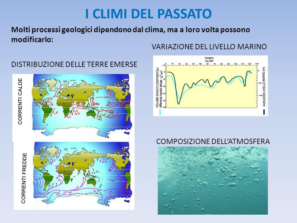 I CLIMI DEL PASSATO VARIAZIONE DEL LIVELLO MARINO. Molti processi geologici dipendono dal clima, ma a loro volta possono modificarlo: