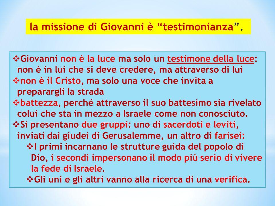 la missione di Giovanni è testimonianza .