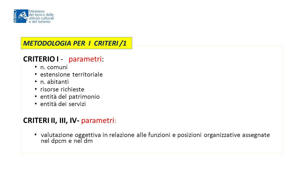 CRITERIO I - parametri: