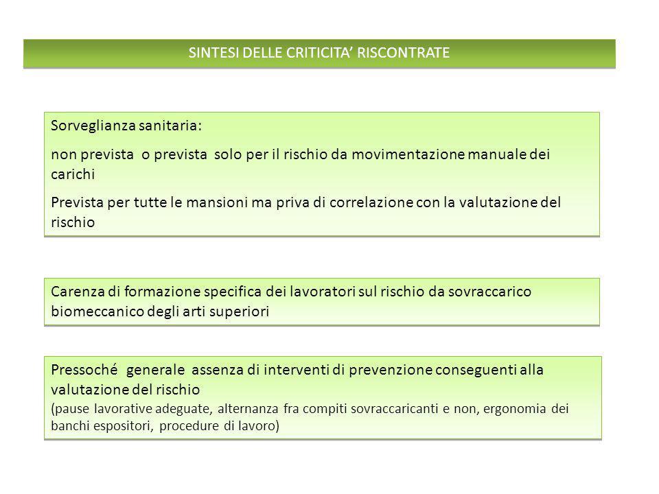 SINTESI DELLE CRITICITA' RISCONTRATE