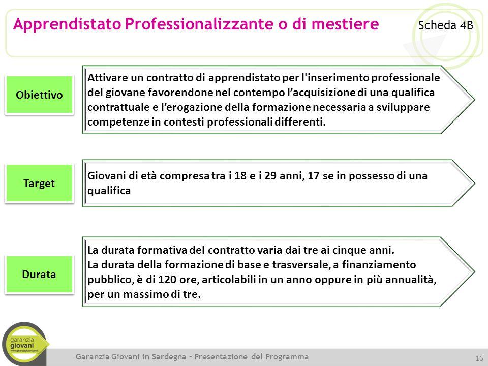 Apprendistato Professionalizzante o di mestiere Scheda 4B