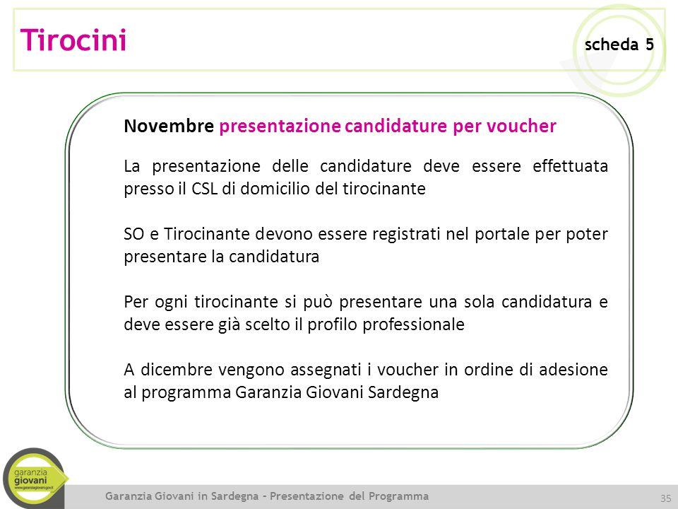 Tirocini scheda 5 Novembre presentazione candidature per voucher
