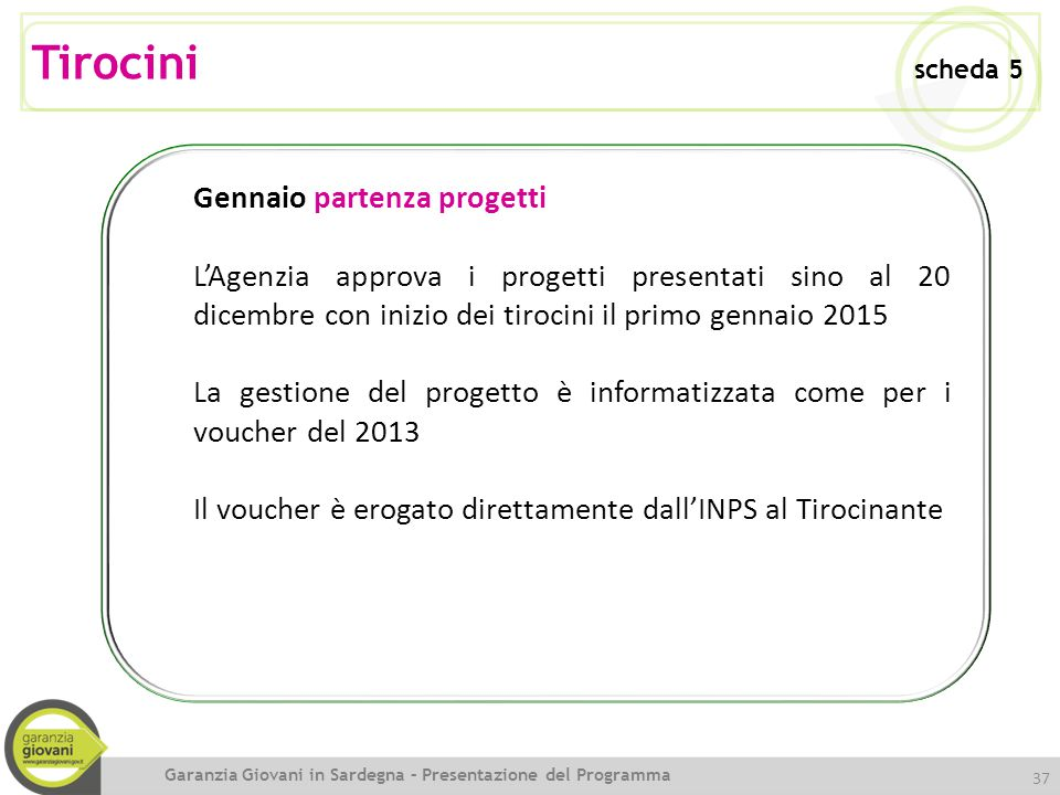 Tirocini scheda 5 Gennaio partenza progetti