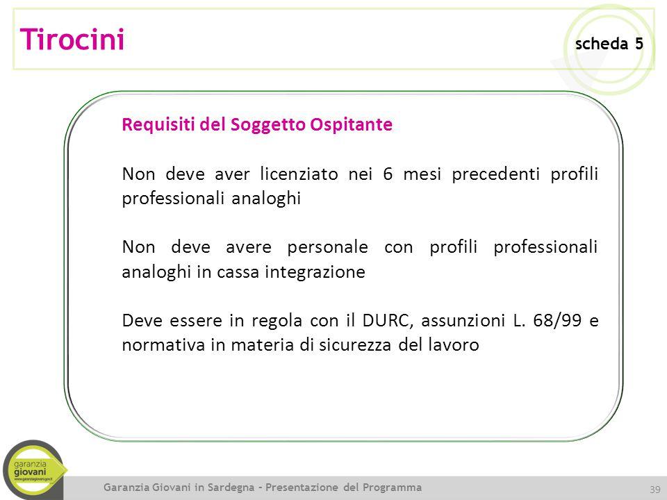 Tirocini scheda 5 Requisiti del Soggetto Ospitante