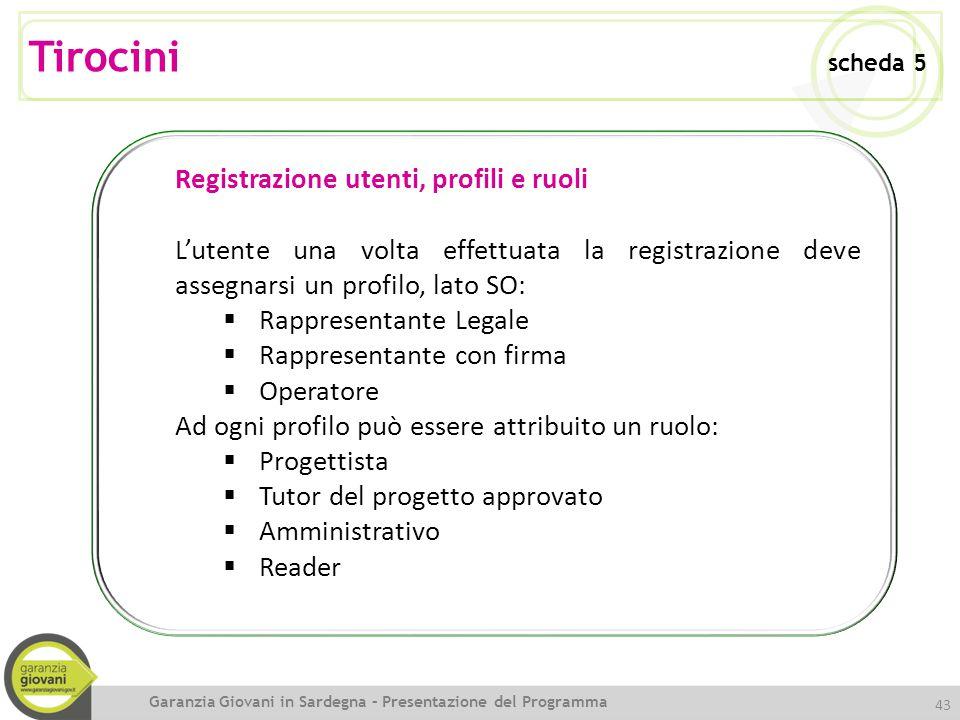 Tirocini scheda 5 Registrazione utenti, profili e ruoli