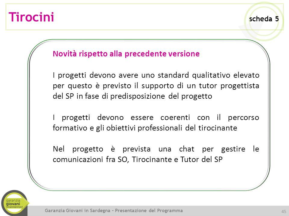 Tirocini scheda 5 Novità rispetto alla precedente versione