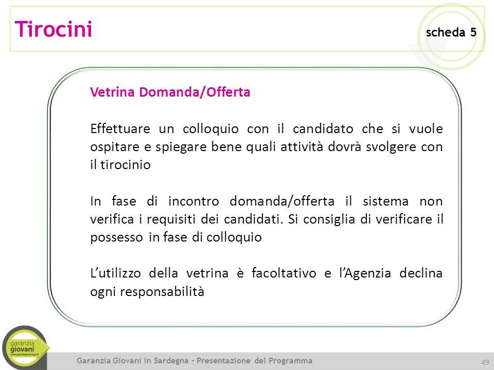 Tirocini scheda 5 Vetrina Domanda/Offerta