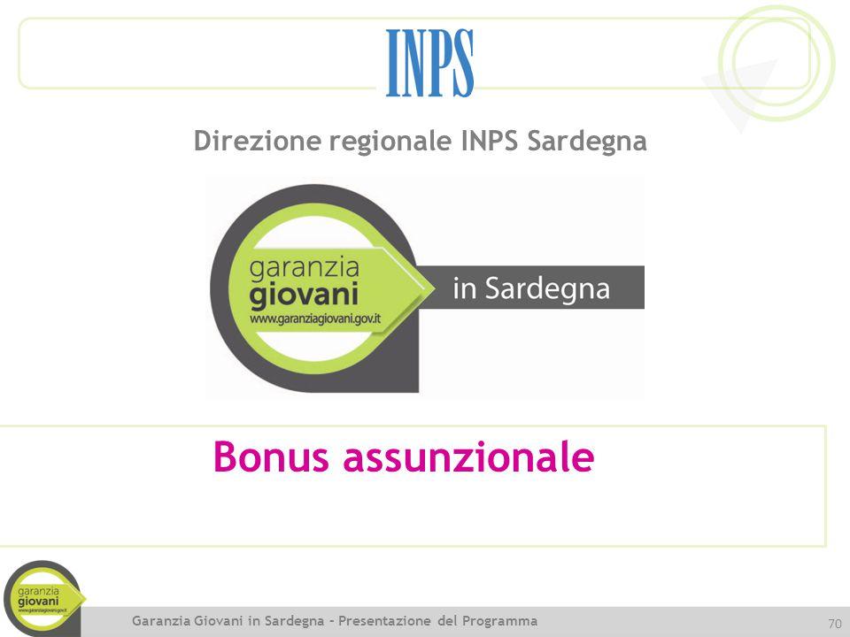 Bonus assunzionale Direzione regionale INPS Sardegna