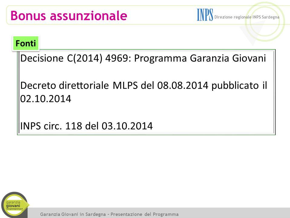 Bonus assunzionale Decisione C(2014) 4969: Programma Garanzia Giovani