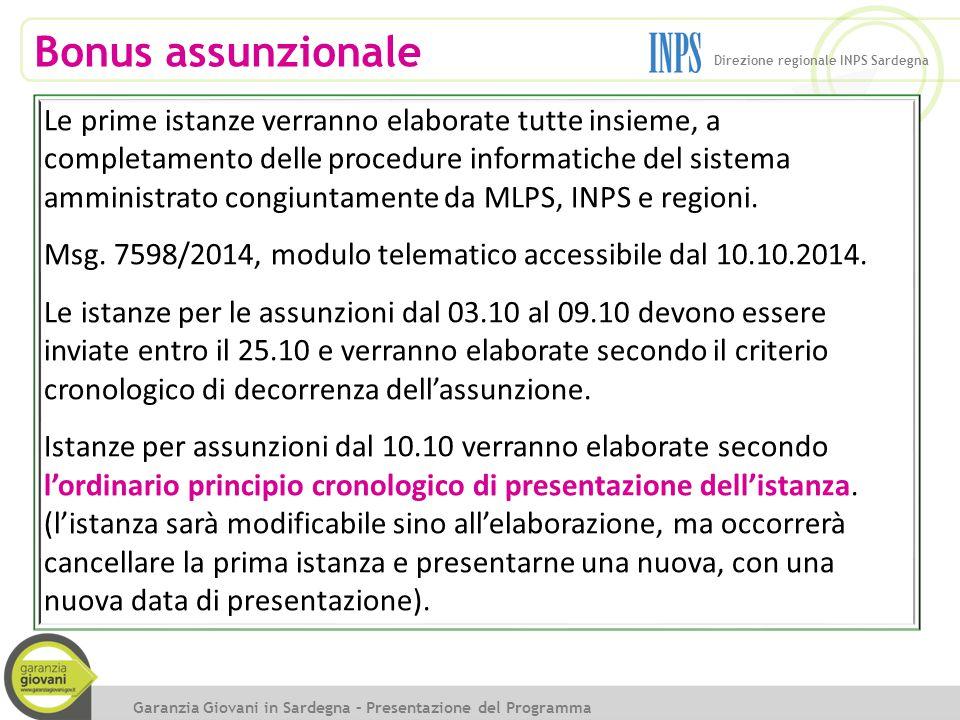 Bonus assunzionale Direzione regionale INPS Sardegna.