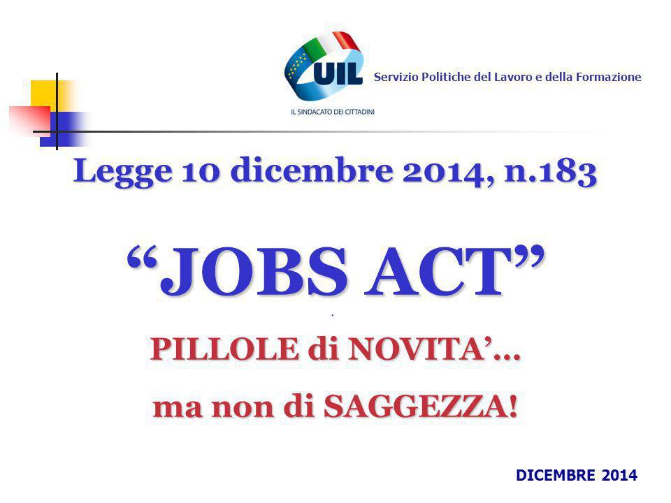 JOBS ACT Legge 10 dicembre 2014, n.183 PILLOLE di NOVITA'…