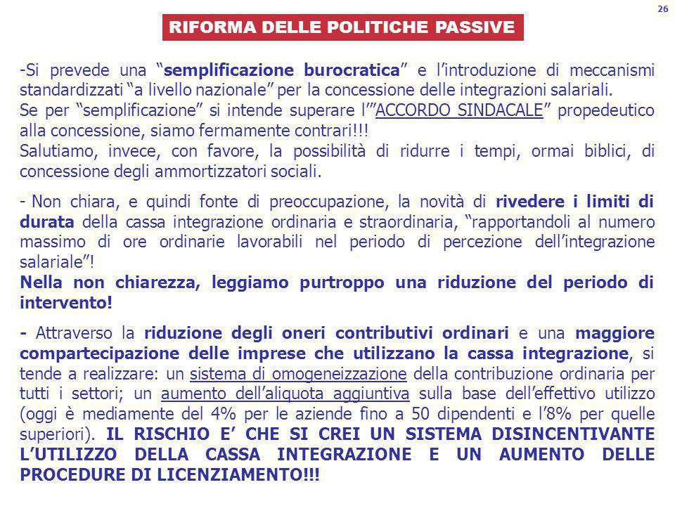 RIFORMA DELLE POLITICHE PASSIVE