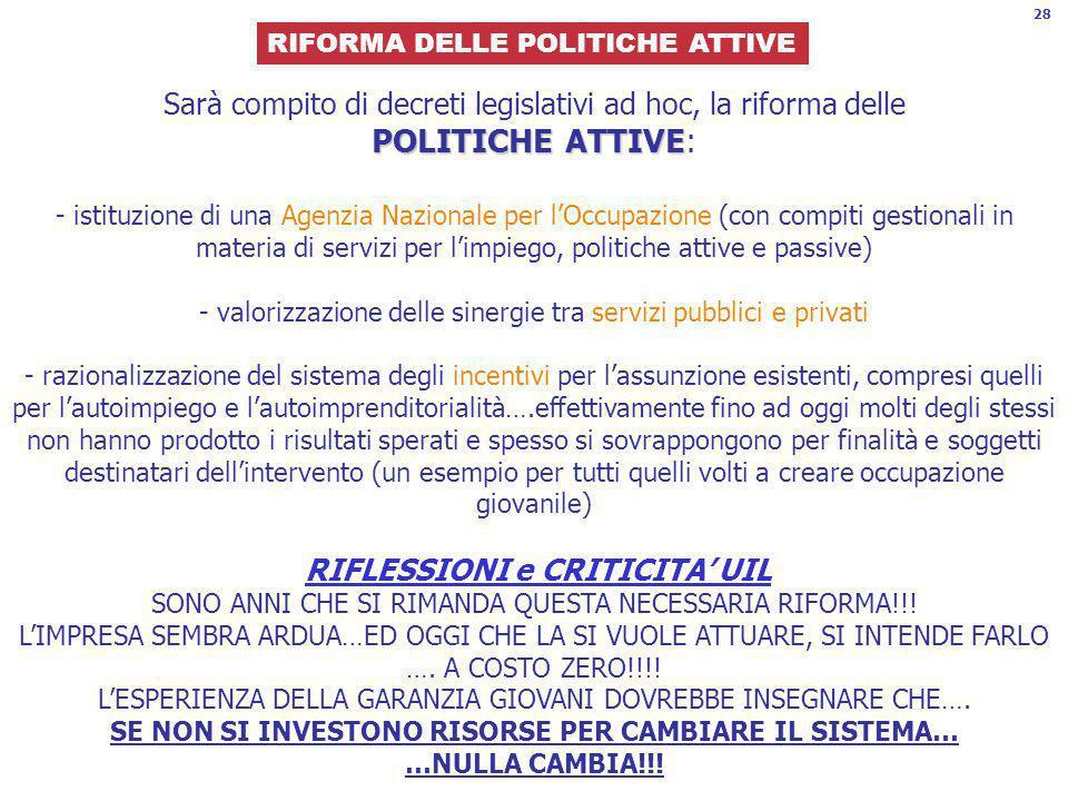 28 RIFORMA DELLE POLITICHE ATTIVE.