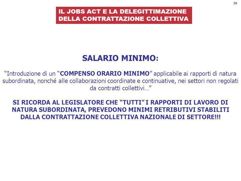 30 IL JOBS ACT E LA DELEGITTIMAZIONE. DELLA CONTRATTAZIONE COLLETTIVA.