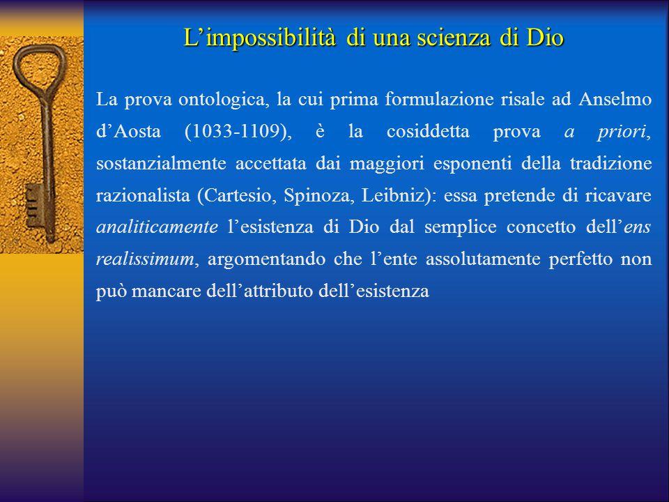 L'impossibilità di una scienza di Dio