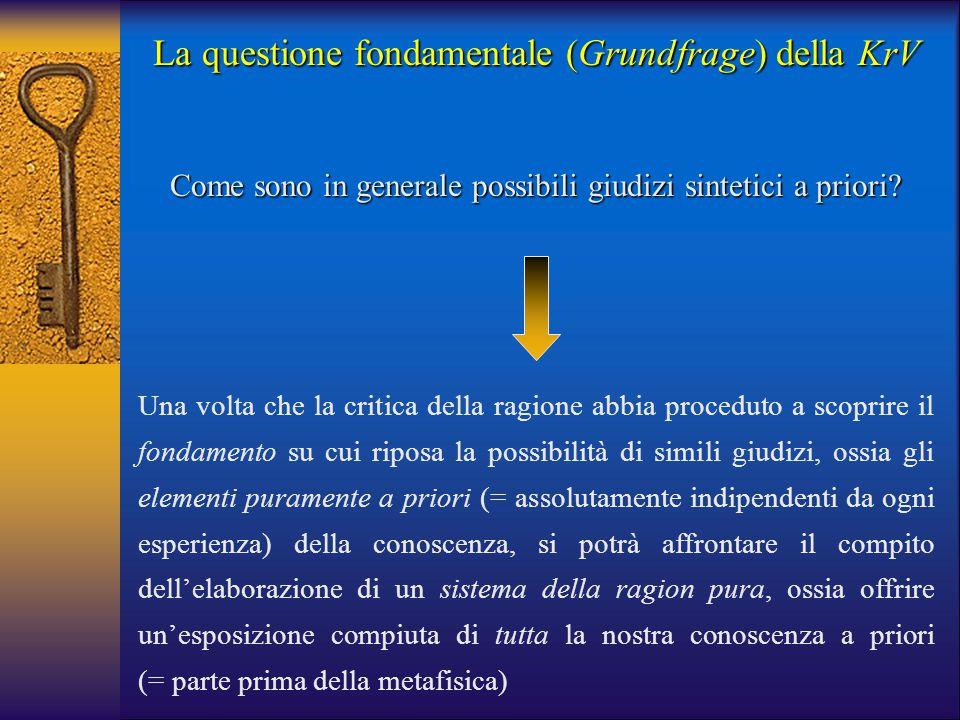 La questione fondamentale (Grundfrage) della KrV