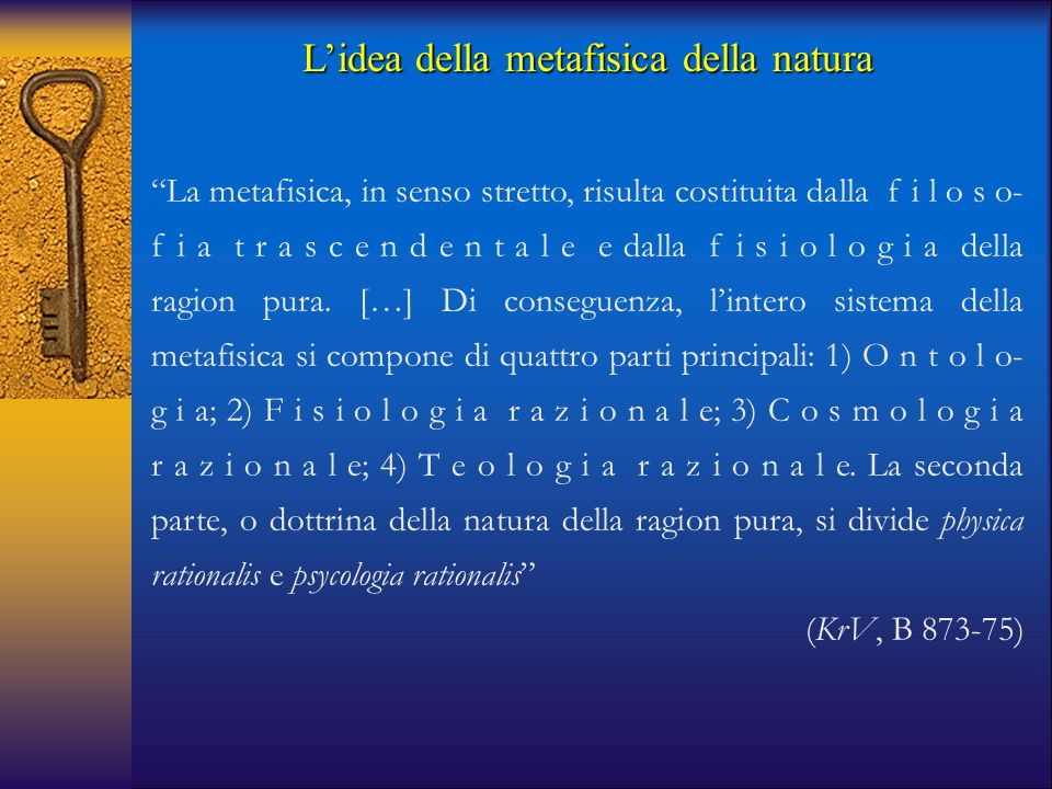 L'idea della metafisica della natura
