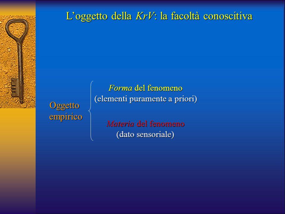 L'oggetto della KrV: la facoltà conoscitiva