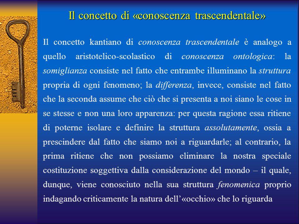 Il concetto di «conoscenza trascendentale»