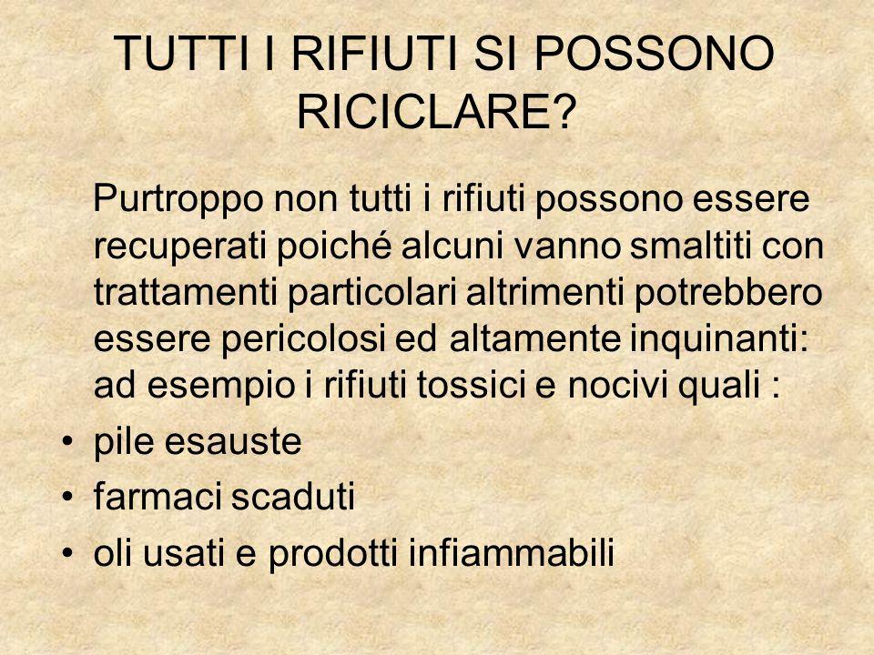 TUTTI I RIFIUTI SI POSSONO RICICLARE
