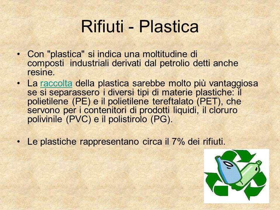 Rifiuti - Plastica Con plastica si indica una moltitudine di composti industriali derivati dal petrolio detti anche resine.