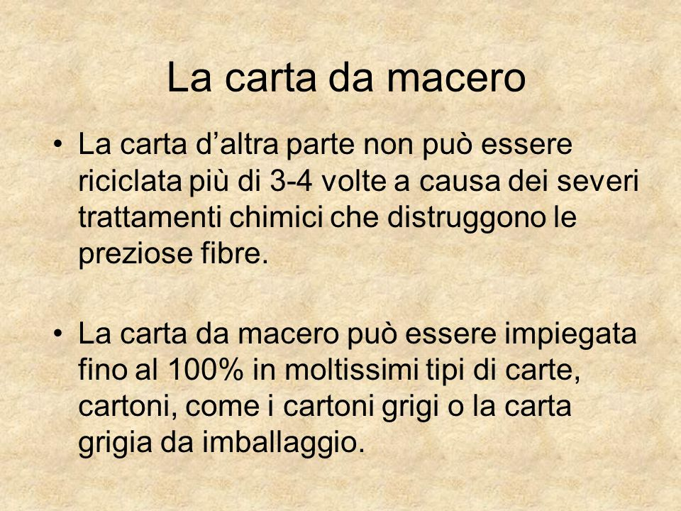 La carta da macero