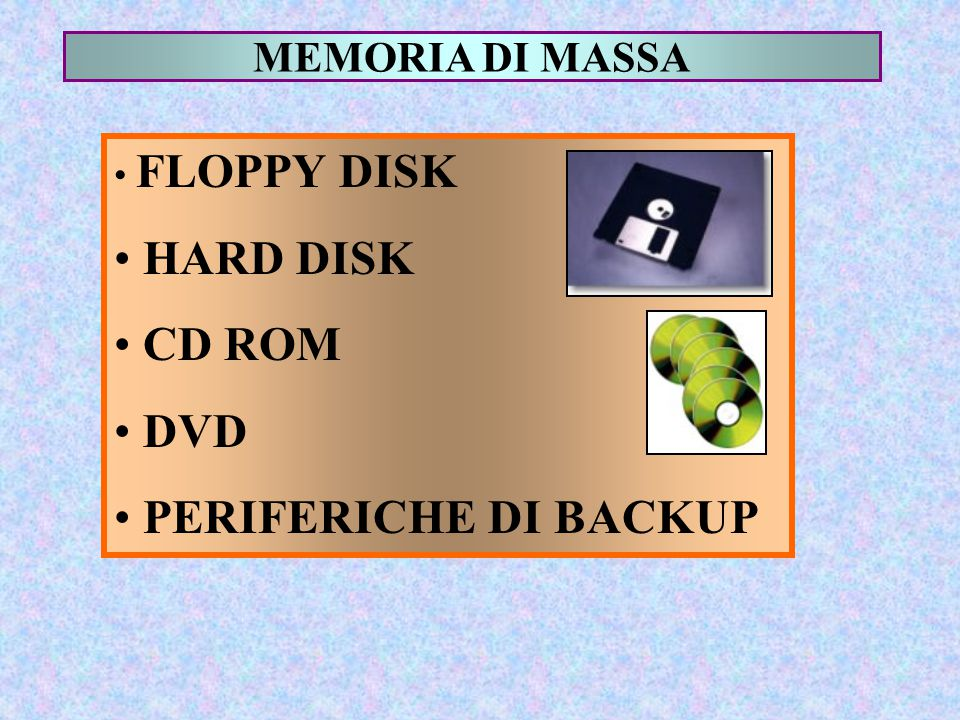 HARD DISK CD ROM DVD PERIFERICHE DI BACKUP MEMORIA DI MASSA