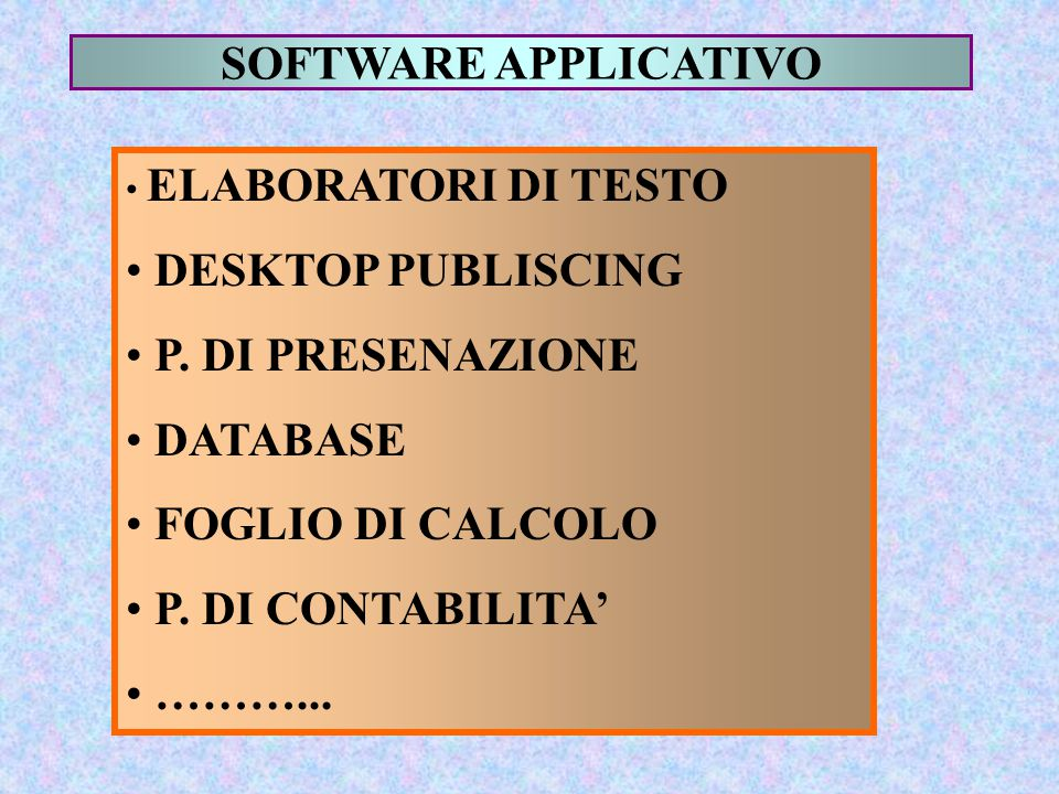 SOFTWARE APPLICATIVO DESKTOP PUBLISCING P. DI PRESENAZIONE DATABASE