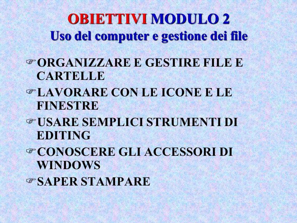 OBIETTIVI MODULO 2 Uso del computer e gestione dei file