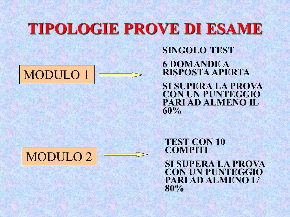 TIPOLOGIE PROVE DI ESAME