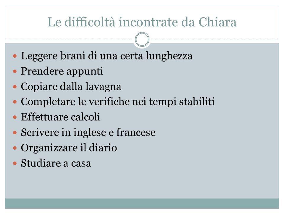 Le difficoltà incontrate da Chiara