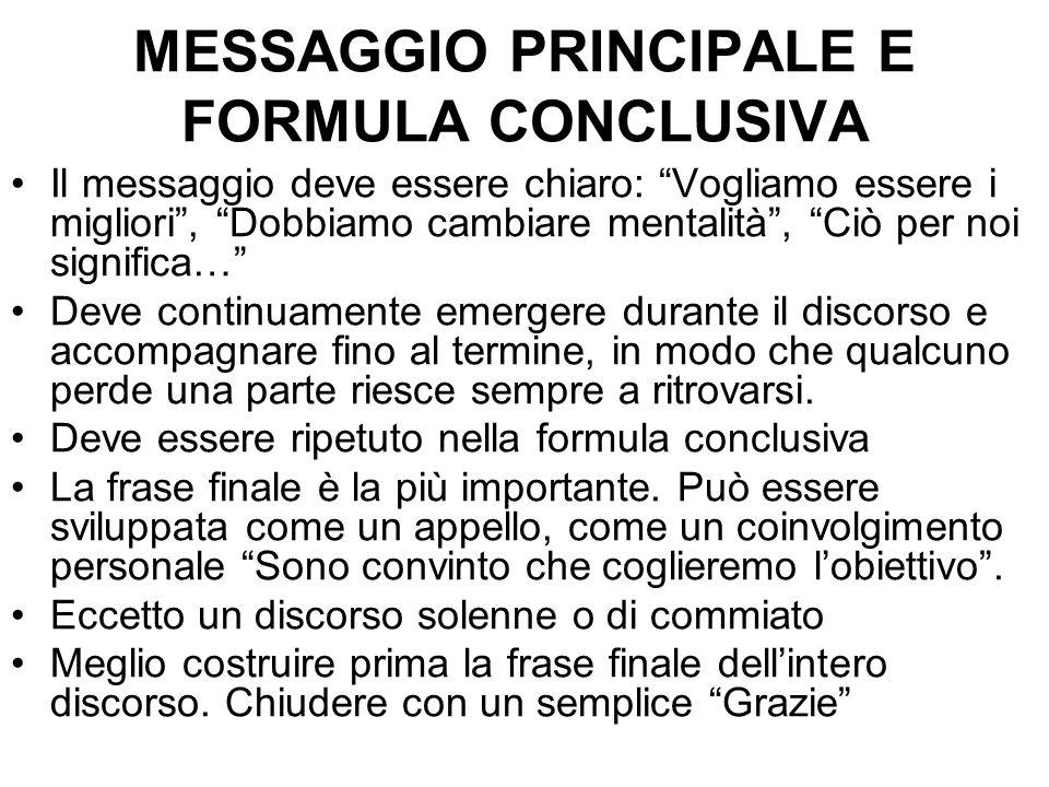 MESSAGGIO PRINCIPALE E FORMULA CONCLUSIVA