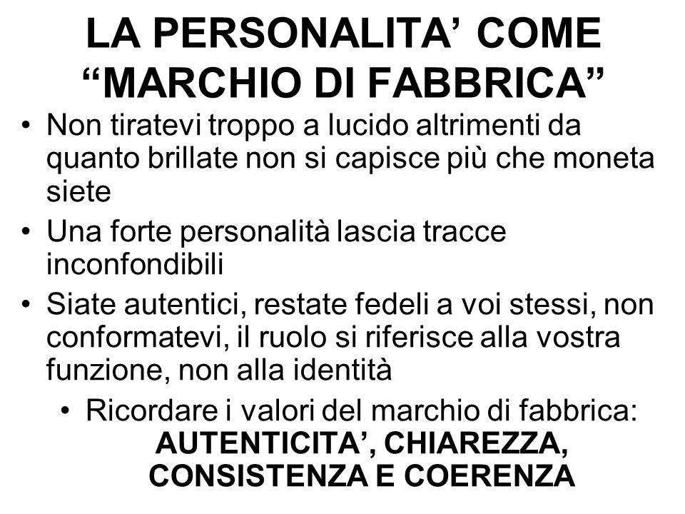 LA PERSONALITA' COME MARCHIO DI FABBRICA