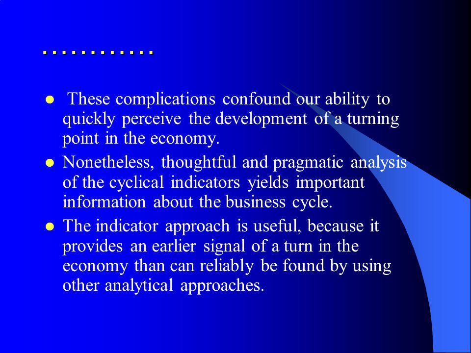 ………… These complications confound our ability to quickly perceive the development of a turning point in the economy.