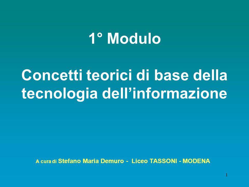 1° Modulo Concetti teorici di base della tecnologia dell'informazione