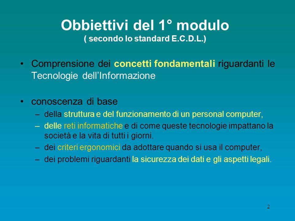 Obbiettivi del 1° modulo ( secondo lo standard E.C.D.L.)