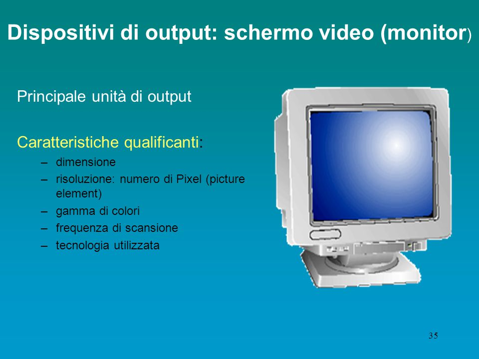 Dispositivi di output: schermo video (monitor)
