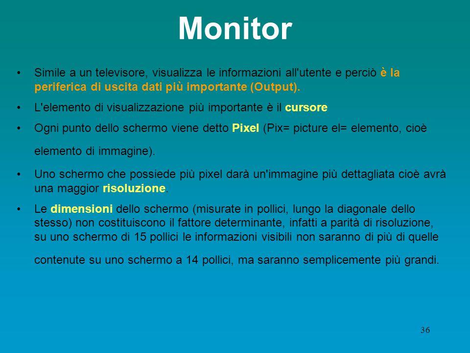 Monitor Simile a un televisore, visualizza le informazioni all utente e perciò è la periferica di uscita dati più importante (Output).