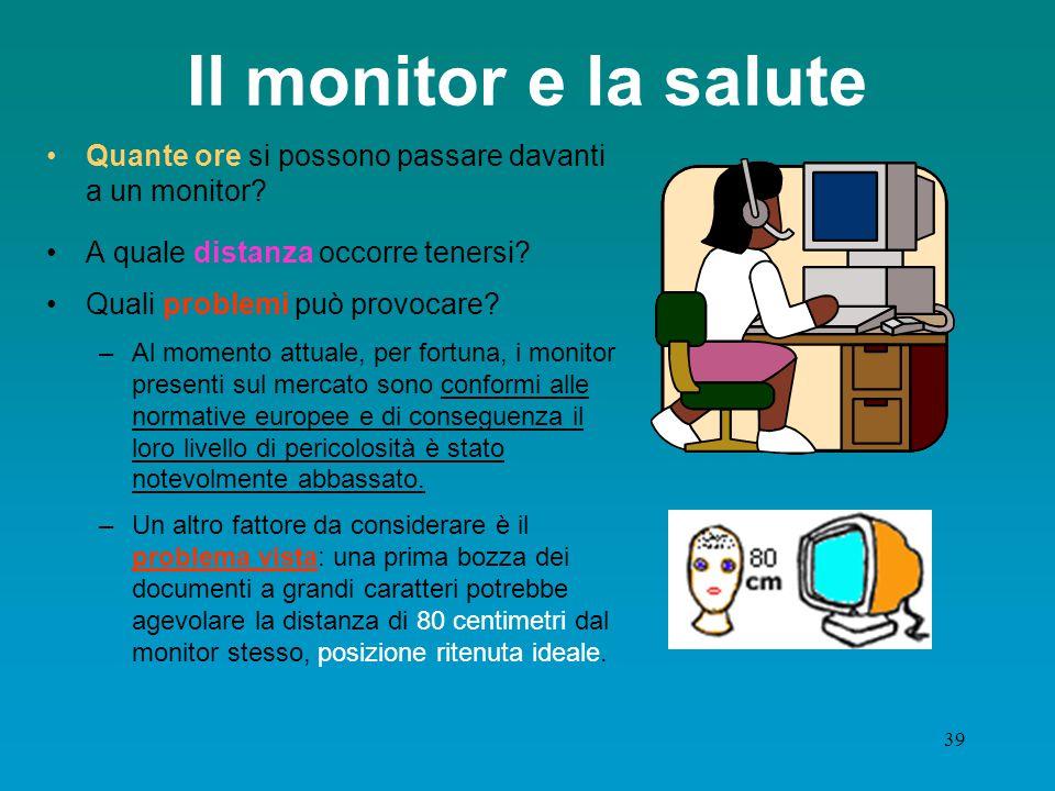 Il monitor e la salute Quante ore si possono passare davanti a un monitor A quale distanza occorre tenersi