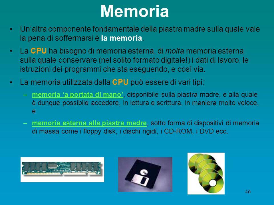 Memoria Un'altra componente fondamentale della piastra madre sulla quale vale la pena di soffermarsi è la memoria.