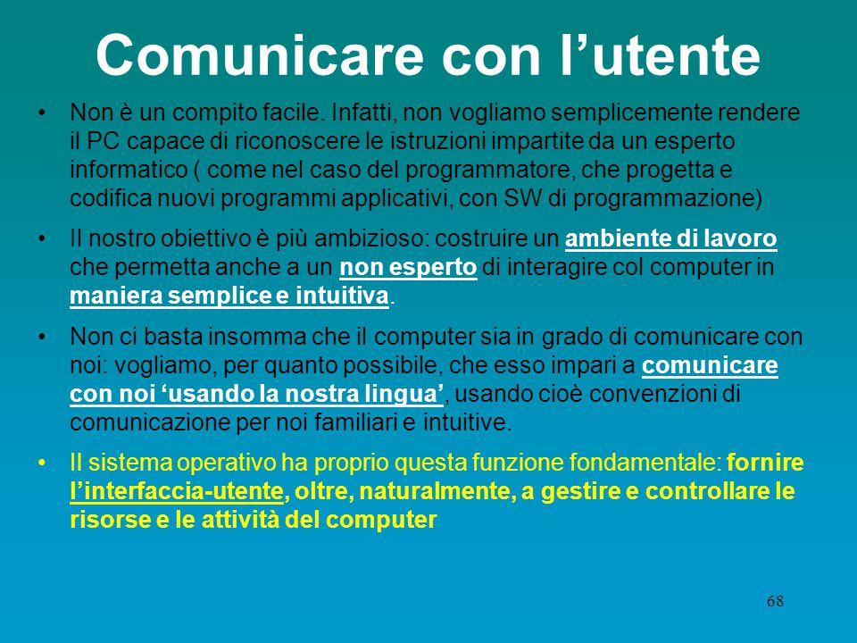 Comunicare con l'utente