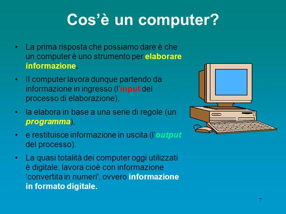 Cos'è un computer La prima risposta che possiamo dare è che un computer è uno strumento per elaborare informazione.