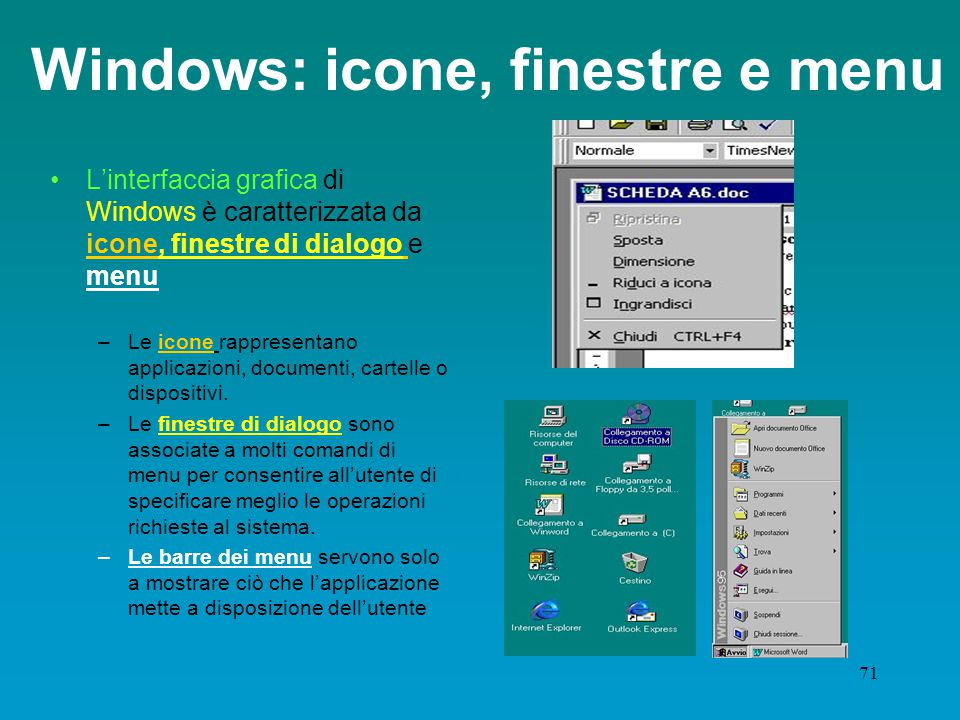 Windows: icone, finestre e menu