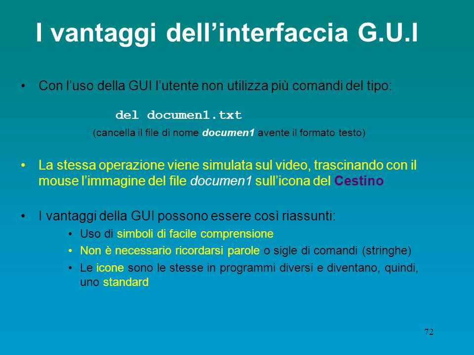 I vantaggi dell'interfaccia G.U.I