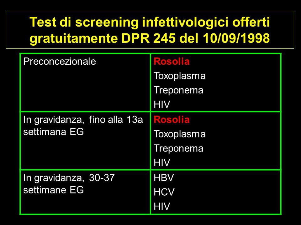 Test di screening infettivologici offerti gratuitamente DPR 245 del 10/09/1998