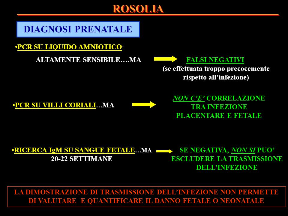 ROSOLIA DIAGNOSI PRENATALE PCR SU LIQUIDO AMNIOTICO: