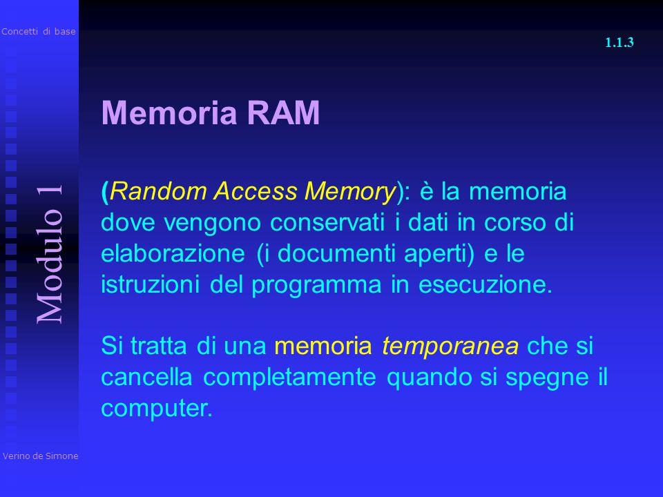 Concetti di base 1.1.3. Memoria RAM.